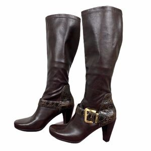 Franco Sarto brown buckle knee high boots size 8